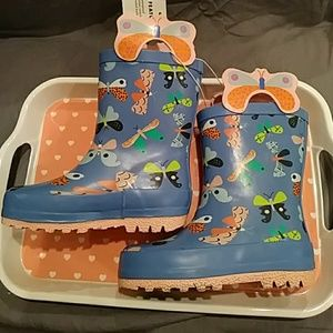 Cat and Jack Girls Butterfly Rain Boots
